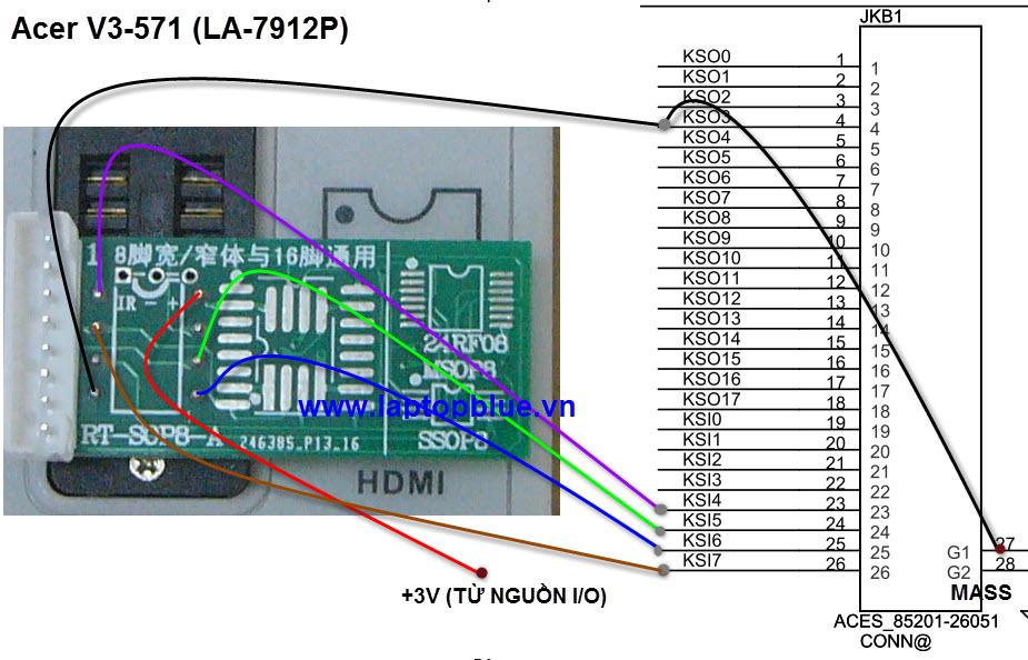 chep rom io Acer v3-571 kb9012